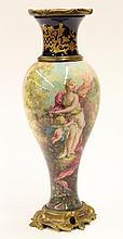 Sevres gilt bronze mounted porcelain urn