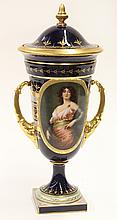 Royal Vienna scenic covered vase