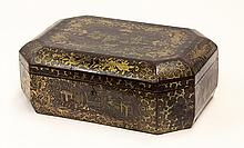 Chinoiserie gilt lacquer box, 19th century, of rectangular form with decked corners and hinged lid, accented with genre scenes flank...
