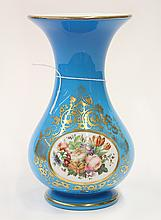 Continental partial gilt and floral decorated glass vase