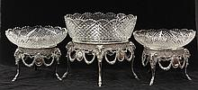 (lot of 3) Continental Neoclassical style crystal and silverplate centerpiece group