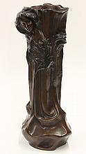 Patinated bronze figural vase, executed in the Art Nouveau taste, the naturalistic form graced with two beauties gazing downward, an...