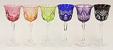 (lot of 6) Bohemian style cut glass goblets