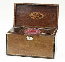 English walnut tea caddy