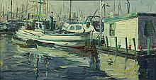 Reynold Brown (American, 1917-1991), San Pedro Harbor Scene, oil on board, signed lower left, board: 10