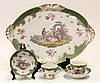 (lot of 5) Sevres, France, porcelain breakfast set, having an oval tray with molded acanthus handles, with gilt highlights and cente...