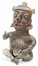 Pre-Columbian polychrome Nayarit figure of a seated shaman
