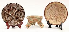 (lot of 3) Pre-Columbian polychrome pottery vessels, 200 BC - AD 250, one of tripod form with orange and cream decoration and figura...