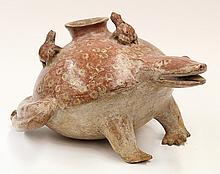 Pre-Columbian Nayarit Mother frog or toad ceramic vessel