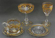 Bohemian style gilt decorated crystal stemware