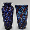 (lot of 2) Art glass vases by Michael Nourot (American b.1949)