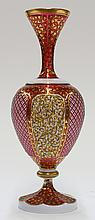 Moser Bohemian white cased cut to cranberry glass vase