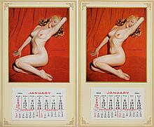(lot of 2) Unframed complete 1955 calendars