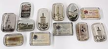 (lot of 12) Early 20th century scenic paperweights, mostly Northern California scenes including Tower of Jewels, San Francisco P