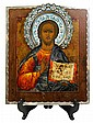 Russian cloisonne enamel clad 84 standard icon of Christ Pantocrater