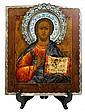 Russian cloisonne enamel clad 84 standard icon of Christ Pantocrater