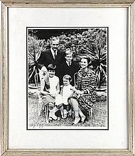 Grace Kelly (1929-1982) and Rainier III (1923-2005) Prince Albert and Princesses Caroline and Stephanie family portrait