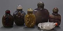 Six Chinese Agate Snuff Bottles