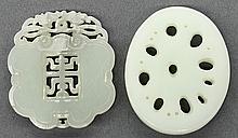 Chinese Jade Plaques, Ruyi/Lotus Root