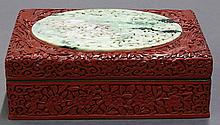 Chinese Cinnabar and Jade Box