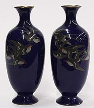 Japanese Blue Cloisonne Vases with Swallows