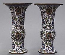 Chinese Gu Form Cloisonne Vases