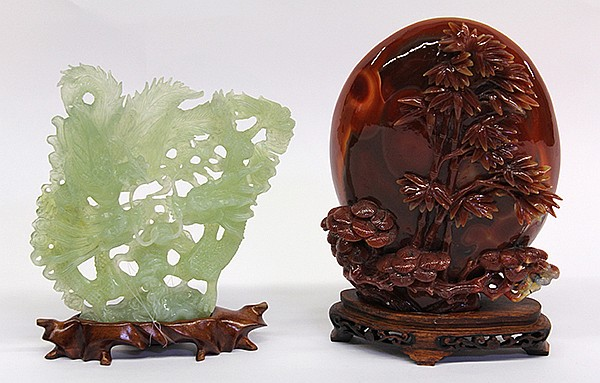 (lot of 2) Chinese Agate and Green Phoenix/Dragon Sculptures
