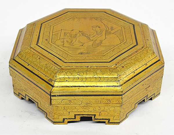 Chinese Octagonal Gilt Wooden Container with Dividers