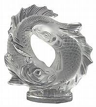 Lalique France crystal 'Deux Poissons' figural sculpture