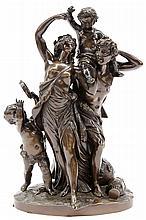 Patinated figural bronze sculpture