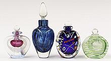 Group of art glass stoppered bottles