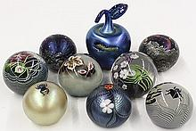 Art glass paperweight group