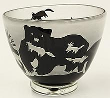 L. Hudin art glass bowl