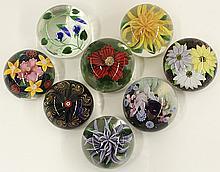 Lundberg Studios art glass flower paperweights