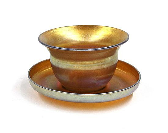 Tiffany Studios favrile cup and saucer