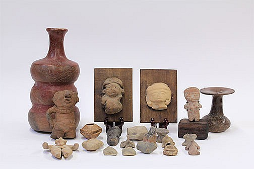 (lot of 21) Pre-Columbian vases of lovely form, the tallest from Tlatilco, Central Mexico, circa 500-200 BC, two red tones, repairs ...