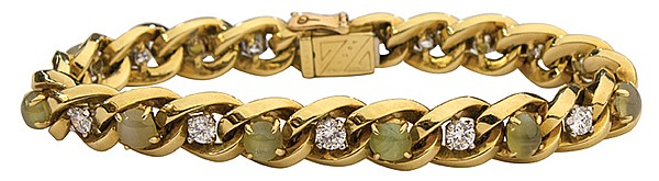 Oscar Heyman yellow gold cat's eye diamond link bracelet