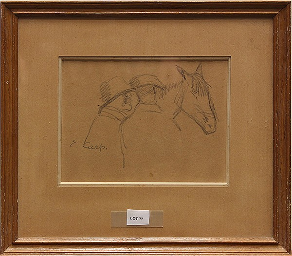 Esther Carp , Two Men and a Horse, graphite drawing