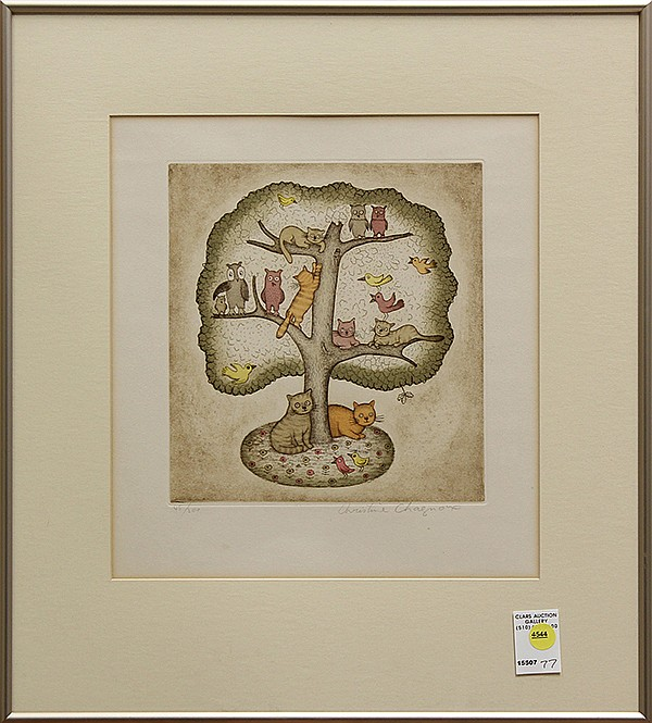 Color Etching, Christine Chagnoux, Cats, Owls, and Birds, in a Tree