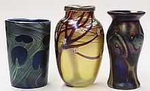(lot of 3) Art glass vase group