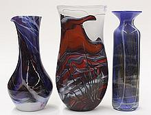 (lot of 3) Art glass vessels