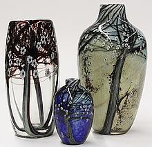 Art glass vase group