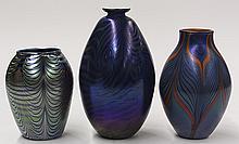 (lot of 3) Iridescent art glass vase group