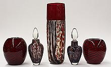(lot of 5) Art glass group by David L. Lindsay for Nourot Glass