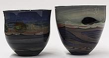 (lot of 2) John Lewis internally decorated art glass bowls