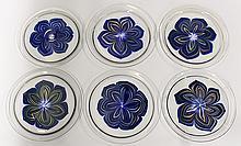 (lot of 6) Lundberg Studios art glass plates