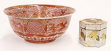 Japanese Kirande Kutani Bowl, Lacquered Box ,19c