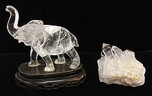 Two Chinese Crystal Elephant and Spiecemen