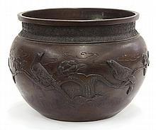 Japanese Small Bronze Hibachi/Censer, 19c.