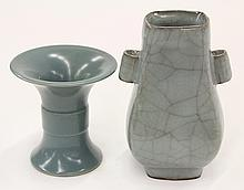 Two Chinese Guan-type Porcelain Vases